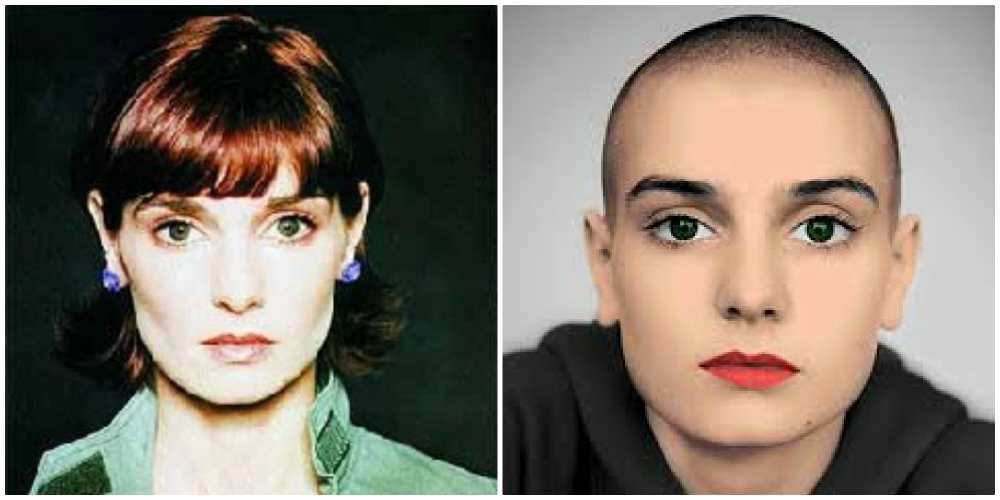 Sinead O Connor with without hair